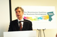 Mayor Tom Roach expressed his satisfaction with results of the Westchester Coalition for Business Development youth flight study identifying White Plains as the ideal place to live in Westchester County at a March 20 press conference at Berkeley College.