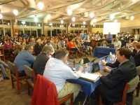 More than 150 parents and students of all ages packed the high school library during a Carmel Board of Education meeting to protest proposals to cut student programs in an effort to close an estimated $2.3 million budget gap next school year.