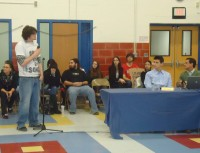 A student who attends the Alternative High School program was one of many students, parents and alumni grads to protest a proposal to close the program down next school year at a recent Carmel Central School District Board of Education meeting.