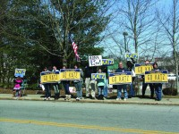 Katz supporters demonstrating outside of Ball's kickoff rally.