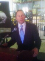 County Executive Rob Astorino at the Captain Lawrence Brewing Company on Monday to tout a new campaign to entice businesses to Westchester.
