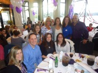 Members of Team  2 Friends, 2 Cancers, 2 Cures and Bryan Kelley who owns AON Physical Therapy and Wellness and underwrote the event, attend this year's Mahopac Relay for Life kick-off dinner at Four Brothers Restaurant.