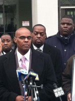 Kenneth Chamberlain, Jr. at a press conference outside the Westchester County Court House.