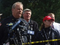 Carmel Police Chief Michael Johnson, Carmel Town Supervisor Kenneth Schmitt and Putnam County Executive MaryEllen Odell hold a press conference regarding the house fire on Wyndham Lane that claimed the lives of Thomas Sullivan, Sr., who was a captain with the Larchmont Police Department, his wife Donna Sullivan and his two high school age daughters Meaghan and Mairead Sullivan. Tommy Sullivan Jr., age 20, escaped from the fire and was released from the hospital today.