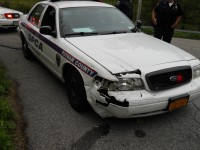 The SPCA vehicle sustained damage when it was involved in an accident on May 4.