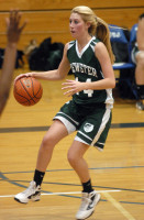 Brewster's Alycia Feeney sets in the paint in Bears' win over Putnam Valley last Wednesday. Photo by Ray Gallagher