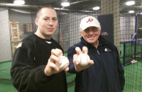 Zach Staniewicz and Hall of Famer Phil Niekro.