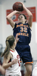 Greeley's Jackie Brett shoots the ball in  last Thursday's win at Rye. Photo by Andy Jacobs