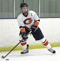 Greeley's Nicholas Girardi controls the puck in last  Thursday's 7-2 victory over Pawling. Photo by andy Jacobs