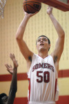 Somers' junior C Max Parks and the eighth-seeded Tuskers advanced to the quarterfinals of the Section 1 Class A tournament for the first times since 1995 after eliminating visiting No.9 Gorton, 62-46, last Friday. Photo by Ray Gallagher