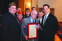 Robert Palmer of Brewster (center) is a WWII veteran who was inducted into state Sen. Greg Ball's Veterans Hall of Fame. BRIAN AVERY PHOTO