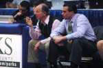 Former Putnam Valley High basketball Coach Ed Wallach (L) takes in his last moments as Tigers coach with PV girls' Coach Aldo Redendo by his side.