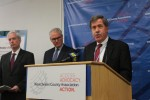 White Plains Hospital CEO Jon Schandler speaking at last week's Westchester County Association's press conference where the business organization released a report that issued a warning about the possible closure of hospitals.