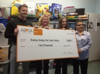 The ASPCA presents $5,000 check to Hudson Valley Pet Food Pantry.