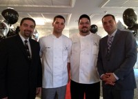 Co-owner Michael Casarella, chefs William Lawrence and Scott Karns, and co-owner Tommy Stratis at the recent ribbon cutting marking the official opening of The Stone Manor 101 in Hawthorne.