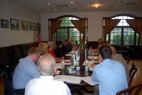 Officials met at Spain Cornerstone Park in Carmel to discuss the Joseph P. Dwyer Veterans Peer to Peer Program last week.