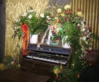 A haunted piano is one of the attractions in the Haunted House.