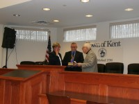Maureen Fleming takes the oath of office at Kent Town Hall last Wednesday.