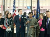 Assemblyman David Buchwald with Senator Andrea-Stewart Cousins at a press conference last week announce a change in the legal filing status for middle names on driver's licenses and registrations.