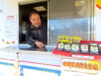 Anthony Romeo was parked at his regular locations in Harrison as spring sprung March 20th. Linden's cookies to his right, are popular with customers, second only to Anthony's Texas chili.