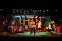 The cast of Fox on the Fairway during rehearsal at WPPAC.