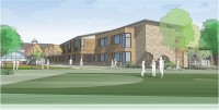 Architect's rendering of French American School of New York proposed building design submitted as art of the Special Permit application to build a regional school housing grades K-12 and a nursery school in a campus setting on the grounds of the former Ridgeway Country Club in White Plains.