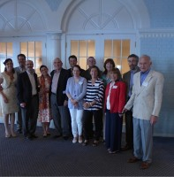 : My Money Workshop CEO Dick Yaffa with volunteer instructors Vicki Gold, Gary Gordon, Paul Katzenstein, Ron Mandle, Helene Reda, Richard Fishkin and Marty Oppenheimer (some standing with their spouses) and associate Marisol Katchvurian at a recent staff appreciation dinner. Claire Yaffa Photo