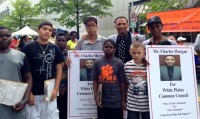 Charles Morgan (pictured third in from the right) was soliciting signatures to run for White Plains Common Council with members of the youth groups he supports during the Juneteenth Festival Saturday, June 14.