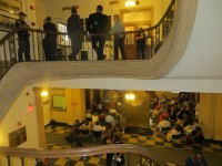 The crowd attending the FASNY public hearing spilled out from the 125-seat Council Chambers to the lobby area outside on the second level of City Hall as well as in the main rotunda downstairs. About 200 people attended in total.