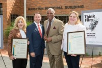 Left to right:Nicole Zeller, co-owner of Haven Studios NY; Westchester County Executive Robert Astorino; Mayor Ernie Davis, City of Mt. Vernon; and Gabrielle Zeller, co-owner of Haven Studios NY.