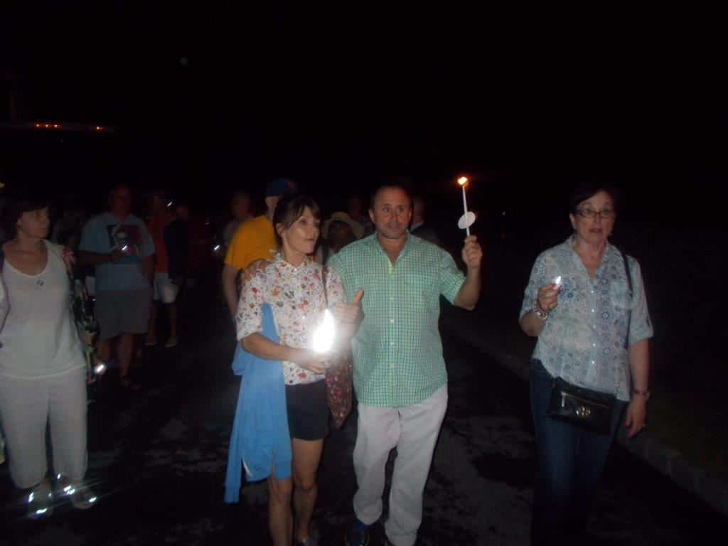 Candles for Clemency organizer Allen Roskoff leads march along Route 133 Saturday night to Gov. Andrew Cuomo's house in hopes of having the governor reconsider his refusal in granting clemency to prisoners.