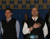 Former Stepinac Head Basketball Coach Tim Philp (right) returned to the court of Stepinac High School for the first time since departing his position to tend to family issues in 2013. Philp joined the staff of Cardinal Hayes Head Coach Joseph Lods (left), as his Associate Head Coach this season. Albert Coqueran Photos