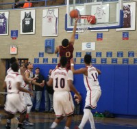 """The """"Big Zero"""" on the back of his uniform is certainly no indication of his scoring aptitude, as Cardinal Hayes forward Jeffrey Hayden scores two of his 26 points, in the Hayesmen's win over the Crusaders, 85-70, at Stepinac, on Saturday."""