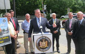 State Sen. Terrence Murphy was joined by several local elected officials Monday to call for passage of legislation that would give municipalities the option to install video cameras at railroad crossings.
