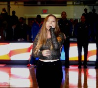 Bianca Ryan, the first-ever winner of America's Got Talent, welcomed the Westchester Knicks to their second season at the Westchester County Center with a touching rendition of the National Anthem.