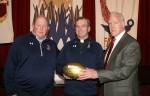 Super Bowl Champ Bob Hyland Presents NFL Gold Football to Stepinac