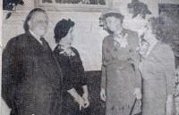 : L – r: Clark Eichelberger, Mrs. Roberta Bergmann, Eleanor Roosevelt, Mrs. Ethel Kent. Mrs. Roosevelt Appearing at Club Day November 1949.