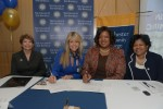 Dr. Dorothy Escribano, provost and senior vice president for academic affairs at The College of New Rochelle, CNR President Judith Huntington, Westchester Community College President Dr. Belinda Miles and Dr. Peggy Bradford, interim vice president and dean of academic affairs at WCC, sign the new articulation agreement between the two colleges last week.