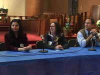 Sana Mustafa, (left) a Syrian activist, who came to the United States in 2013, described her families struggle since the Syrian Civil War broke out in 2011. Rev. Doris Dalton (center) moderated, with Rabbi Dr. Julie Danan of Pleasantville Community Synagogue adding closing remarks. Andrew Vitelli Photos