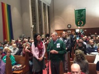 Close to 200 people packed Memorial United Methodist Church in White Plains for a forum on the Syrian refugee crisis, with speakers calling for the U.S. to welcome refugees from the war-torn country.