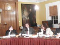 Legislators Roger Gross (far left) and Joe Castellno voted for the additional money, while Legislator Dini LoBue did not.