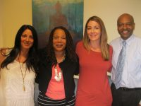 Hygeia Integrated Health, LLC opened in Jefferson Valley on April 30. Shown above are (from left:) psychotherapist Nicole Memoli, Hygeia founder Denise Foulkes, Christine Fallon, who does marketing and operations work, and biofeedback specialist Harry Campbell. Photo credit: Neal Rentz