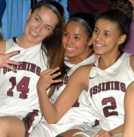 Ossining senior and UConn commit Andra Espinoza-Hunter (2) returned home this Friday to the Pride where the good times rolled in 2012-13 before a three-year stay at the prestigious Blair Academy in New Jersey.