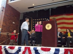 Legislator Catherine Borgia was sworn-in during the Ossining inauguration.