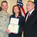 Captain Shawn Tabankin of Bedford Hills poses with Congresswoman Nan Hayworth and Assemblyman Robert Castelli.