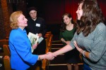 Holocaust survivor Ruth Bachner chats with high school students following her talk at the Jacob Burns Film Center last week on Holocaust Remembrance Day