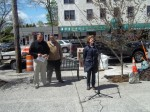 Pleasantville Beautification Chairwoman Kathy Dinkel salutes retired DPW Superintendent Stephen Johnson on Arbor Day for his work with the village's trees by dedicating a tree last Friday in his name on Bedford Road.