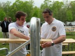 Gov. Andrew Cuomo lent a hand while visiting FDR Park on Saturday, May 5.