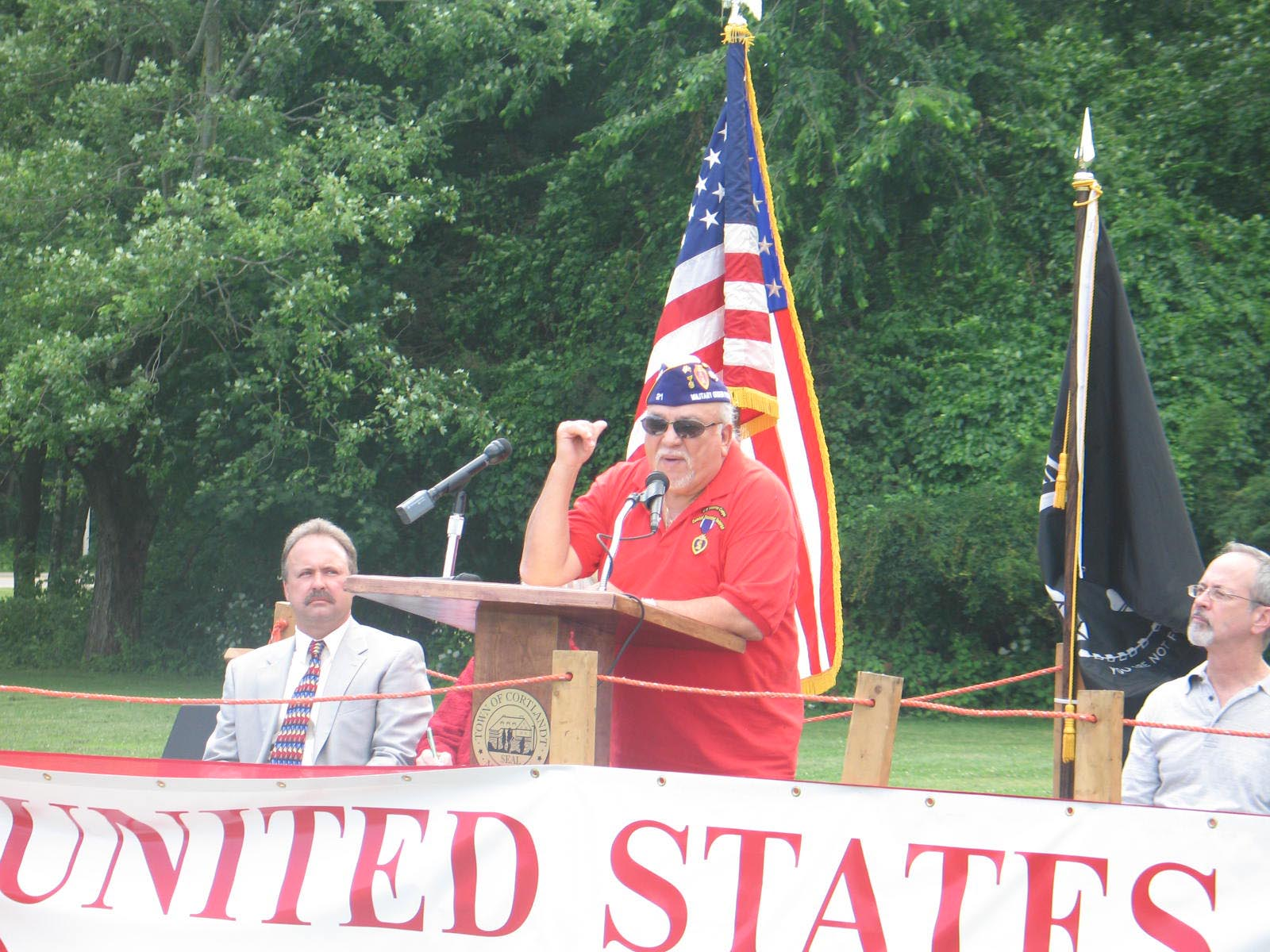 William Nazario, head of the Cortlandt Veterans Committee and a Vietnam Purple Heart recipient, was one of the speakers during the Flag Day rally in Cortlandt.