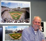 Paul Plaine of Ballpark Prints in his studio at 31 Mamaroneck Avenue, White Plains, with his before and after photos of New York's Yankee Stadium.